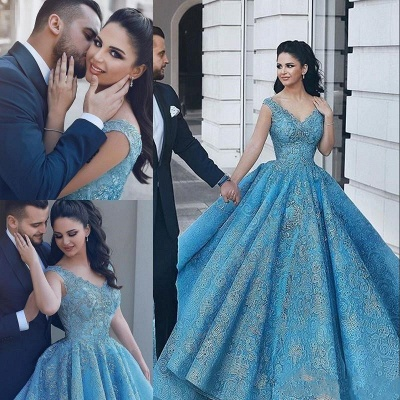 Gorgeous Blue Lace Ball Gown Evening Dress | Cap Sleeve Party Gown_4
