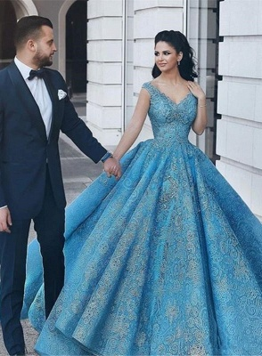 Gorgeous Blue Lace Ball Gown Evening Dress | Cap Sleeve Party Gown_1
