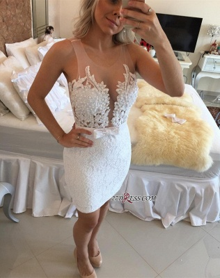 Bow Lace Pearls Sexy Mini Bodycon Straps Tight Homecoming Dress BA9969_3