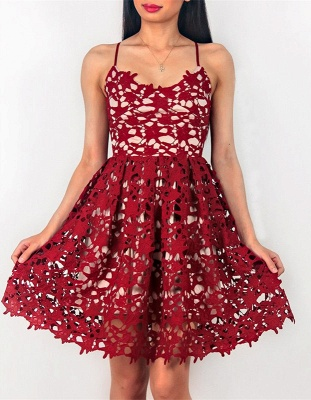 Cute Red Lace Spaghetti Strap Homecoming Dress | Sleeveless Short Party Gown_1