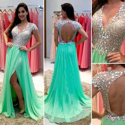 Stunning Cap Sleeve Crystal 2020 Prom Dresses 2020 Open Back Long Chiffon Prom Gown_4