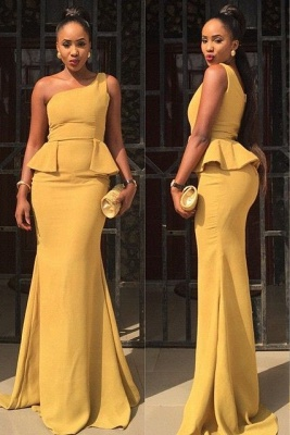 Sexy One Shoulder Mermaid Yellow Prom Dress 2020 Ruffles Sweep Train_1