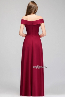 A-line Long Off-the-Shoulder Burgundy Evening Gowns_2