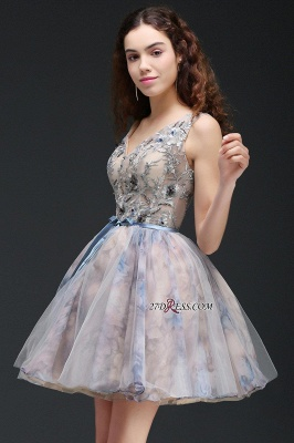 Belt Cute Lace-up Sleeveless Straps Short Flowers Homecoming Dress_2