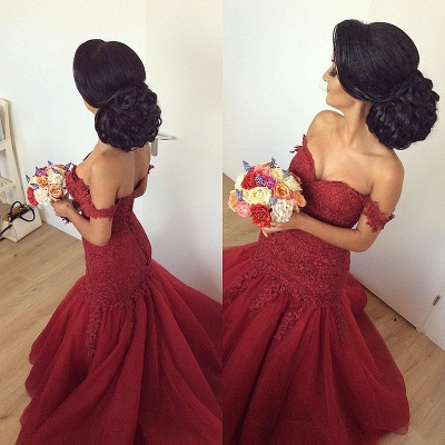 Gorgeous Off-the-Shoulder Burgundy 2020 Prom Dress Long Mermaid Lace Party Gowns BA7580_3