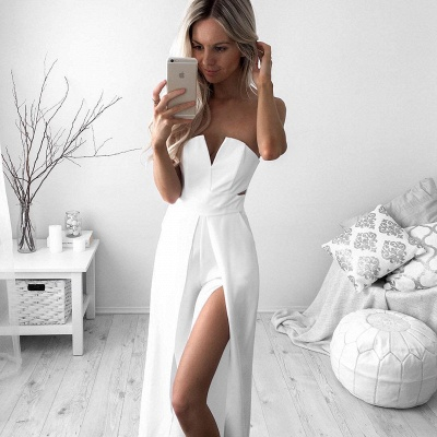 Newest White A-line Sleeveless Front Split Prom Dress_3