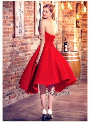 Cocktail-Dresses Sweetheart-Neck Red Short Hi-Lo Chic Party Dresses_2