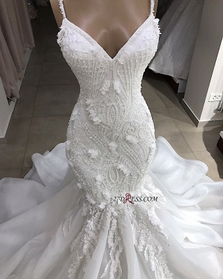 Sweetheart Sleeveless Spaghetti-Straps Appliques Excellent Mermaid Wedding Dresses_2