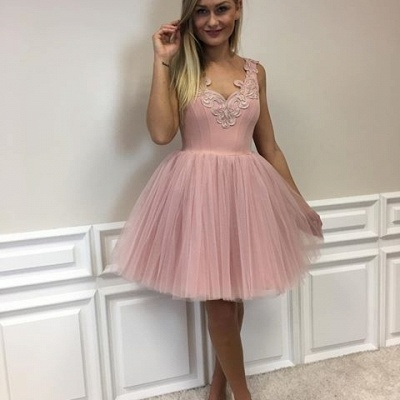 Cute Lace-Appliques Short Tulle Pink A-line Homecoming Dresses_5