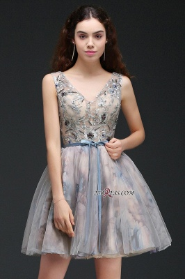 Belt Cute Lace-up Sleeveless Straps Short Flowers Homecoming Dress_4