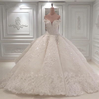 Glamorous Sweetheart Off-the-Shoulder Wedding Dress | Lace Applique 2020 Bridal Gown Online_1