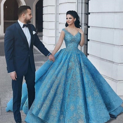 Gorgeous Blue Lace Ball Gown Evening Dress | Cap Sleeve Party Gown_2