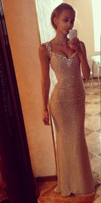 Sequins Sexy Mermaid Prom Dress with Crystals Straps_3