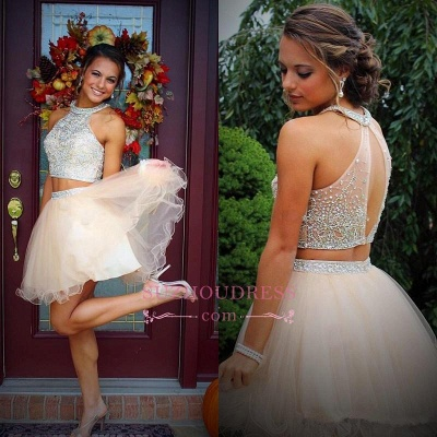 Short Champagne Halter Crystals Mini Discount Open-Back Two-Piece Organza Homecoming Dresses_1