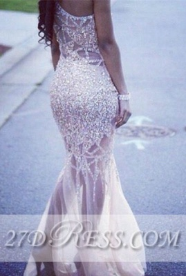 Elegant One Shoulder Sheath Evening Dresses Tulle Prom Gowns with Beadings_2