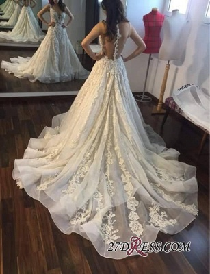 Appliques Gorgeous Lace Sleeveless Princess Wedding Dress_2