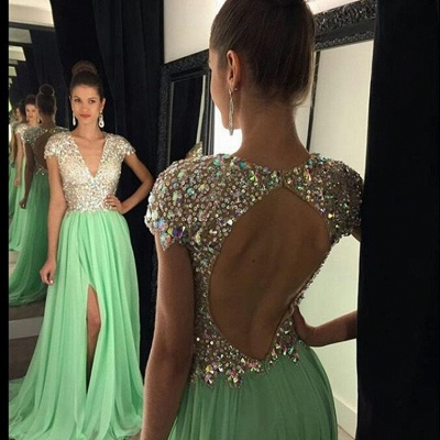 Stunning Cap Sleeve Crystal 2020 Prom Dresses 2020 Open Back Long Chiffon Prom Gown_3