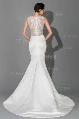 Newest Lace Appliques Mermaid Evening Dress Sweep Train_4