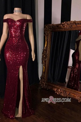 Sheath Sequin-Lace Red Shining Side-Split Evening Dresses_1