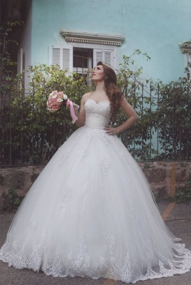 Elegant Tulle Lace Ball Gown Wedding Dress 2020 Sweetheart Sleeveless_1