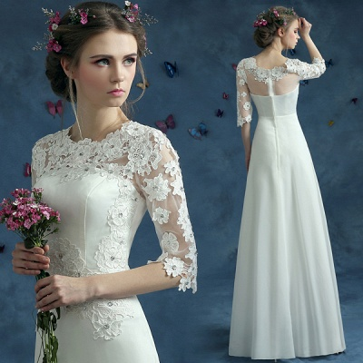 Elegant Lace Half Sleeve 2020 Wedding Dress Illusion Zipper Floor-length_3