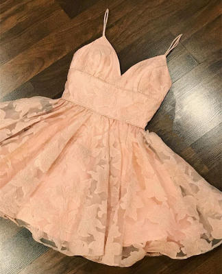 Gorgeous V-Neck Lace Homecoming Dress | 2020 Mini Party Gowns_2