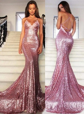Glamorous Sequins V-Neck Prom Dresses 2020 Mermaid Spaghetti Straps Party Gowns_3