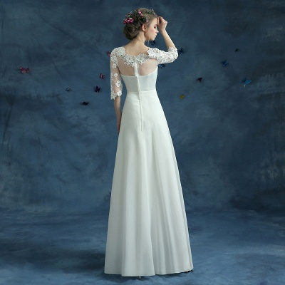 Elegant Lace Half Sleeve 2020 Wedding Dress Illusion Zipper Floor-length_5
