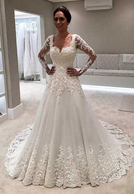 Long Sleeve Wedding Dress | 2020 Lace Bridal Gowns On Sale_1