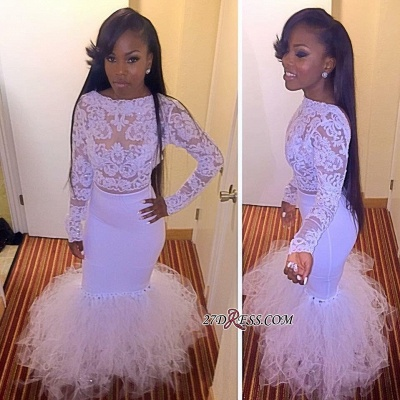 Cheap Mermaid Two-Piece Dress Tulle Prom Lace Long-Sleeves yj0010 BK0_1