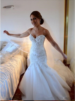 Sexy Mermaid Tulle Appliques Wedding Dress Long Train With Ruffles_1