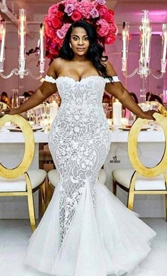 Glamorous Off-the-Shoulder Mermaid Sweetheart Wedding Dress | Lace Appliques Tulle Bridal Gown_1