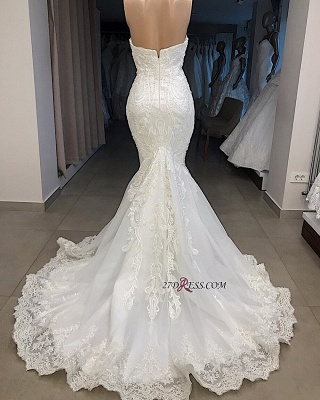 Glorious Sweetheart Mermaid Off-the-shoulder Appliques Wedding Dresses_2