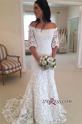 Simple Off-the-Shouler Lace Half-Sleeves Wedding Dress BA8200_3