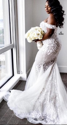 Glamorous Off-the-Shoulder Mermaid Sweetheart Wedding Dress | Lace Appliques Tulle Bridal Gown_5