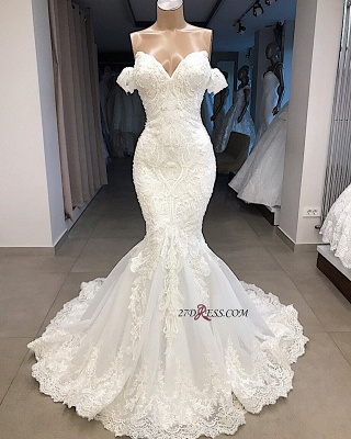 Glorious Sweetheart Mermaid Off-the-shoulder Appliques Wedding Dresses_1