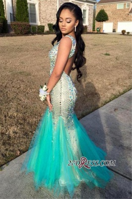 Sequins Beaded Gorgeous Sleeveless Tulle Jewel Mermaid Sparkly Backless Prom Dress_2