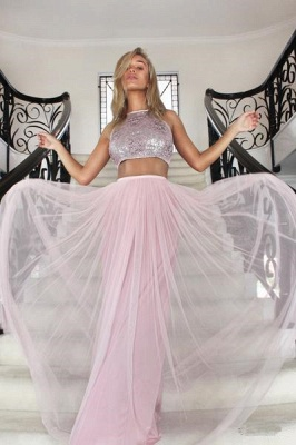 Gorgeous Halter Sleeveless Tulle Prom Dress | Two Pieces A-Line 2020 Evening Gowns_4