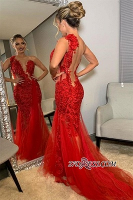 Burgundy One-Shoulder Backless Mermaid Prom Dresses | Sexy Lace Applique Tulle Evening Gown_2
