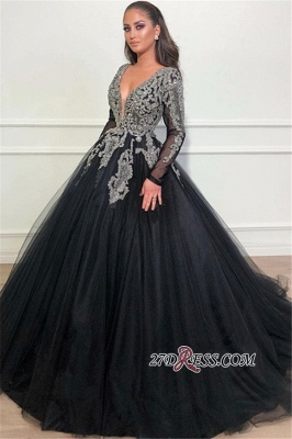 Sexy Ball Gown Long Sleeves Evening Dresses | Black V-Neck Classical Appliques Prom Dresses BC1369_2