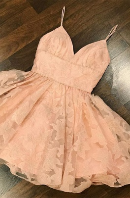Gorgeous V-Neck Lace Homecoming Dress | 2020 Mini Party Gowns_1