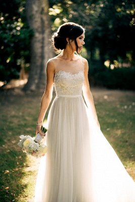 Elegant Summer Beach Sleeveless Wedding Dresses New Arrivals Tulle Lace Appliques_2