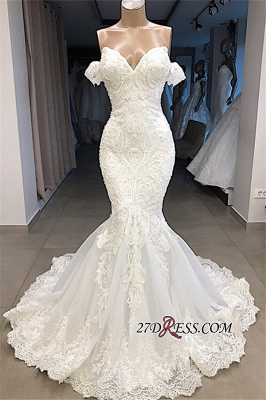 Glorious Sweetheart Mermaid Off-the-shoulder Appliques Wedding Dresses_3