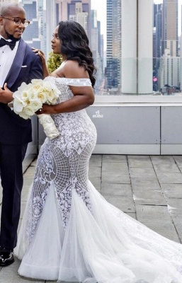 Glamorous Off-the-Shoulder Mermaid Sweetheart Wedding Dress | Lace Appliques Tulle Bridal Gown_2
