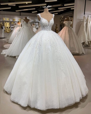 Exquisite Spaghetti-Straps Lace Wedding Dresses Appliques Puffy Tulle Princess Bridal Dress_2