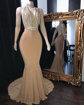 Elegant Champagne Halter Backless Prom Dresses | 2020 Mermaid Sequins Evening Party Gowns_2