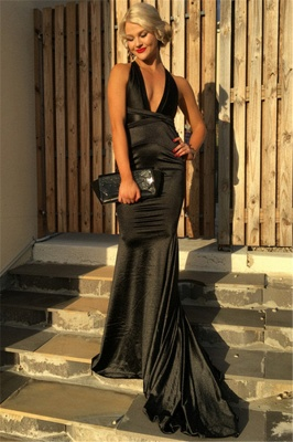 Sexy Black V-neck Mermaid 2020 Prom Dress Long Party Gownn_1