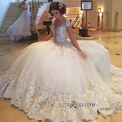 2020 Cap-Sleeves Wedding Gowns | Princess Lace Wedding Dress On Sale_1