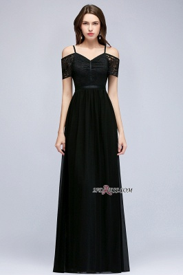 Chiffon Lace Short-Sleeves Black Sexy Cold-Shoulder Evening Dress_4