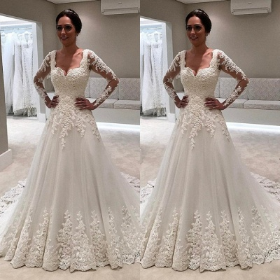 Long Sleeve Wedding Dress | 2020 Lace Bridal Gowns On Sale_3